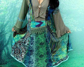 XXL-Meer-Farben-Patchwork-Kleid Recycling bis radelte Hippie Boho romantisch