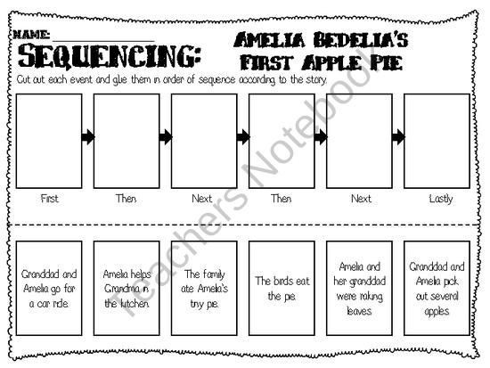 Sequencing Worksheet for Amelia Bedelia's First Apple Pie