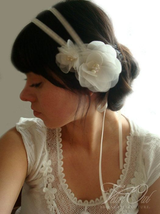 Ivory bridal double headband hair band and organza flowers roses pearls ribbon- LUCINDA