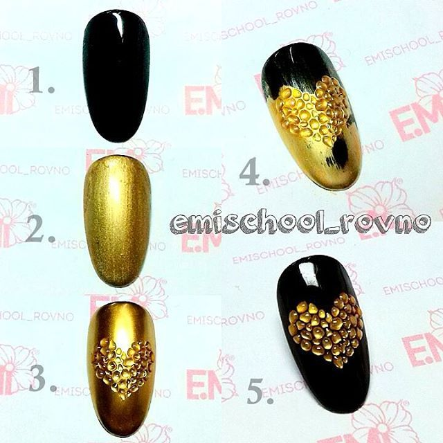 Gold and black nail art design
