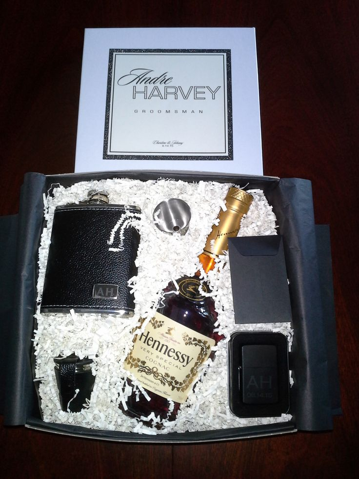 Modern Black & Ivory Wedding - Best Man/Groomsman Gift: Hennessy, Pebbled Leather Flask, Stainless Steel Shot Glasses, Funnel & Lighter