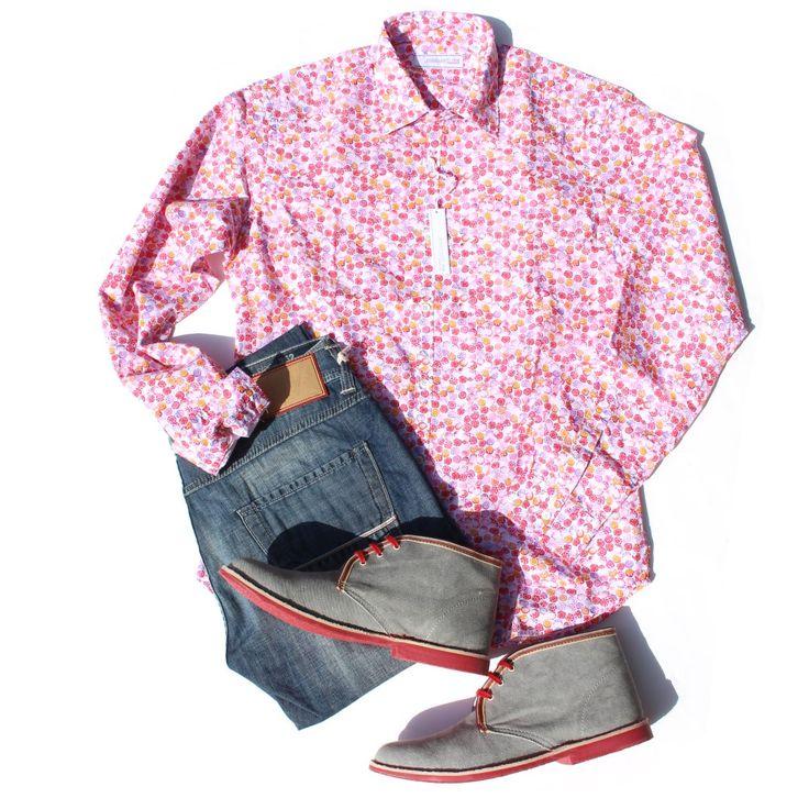 #メンズ #長袖 #カジュアルシャツ #イタリア #ポジャンティ― #POGGIANTI