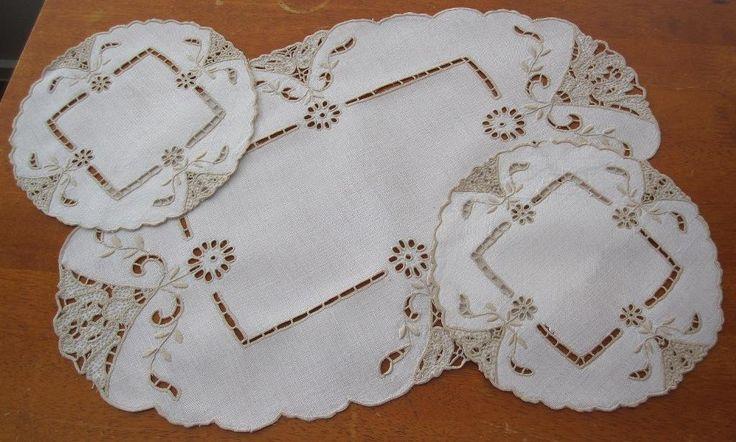Authentic Vintage Three Piece Duchess Set in Antiques, Textiles, Linens, Lace, Crochet, Doilies | eBay SELLER ID: kathy_a1