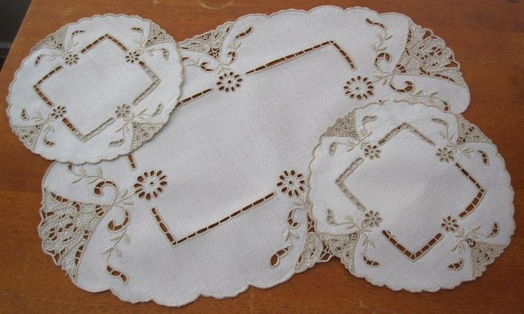 Authentic Vintage Three Piece Duchess Set in Antiques, Textiles, Linens, Lace, Crochet, Doilies | eBay SELLER ID: kathy_a1