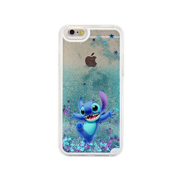 Stitch Lovely Blue Glitter Liquid quicksand Painted Case Cover For iPhone 4 4S 5 5S 5C SE 6 6S 6 PLUS 6S PLUS