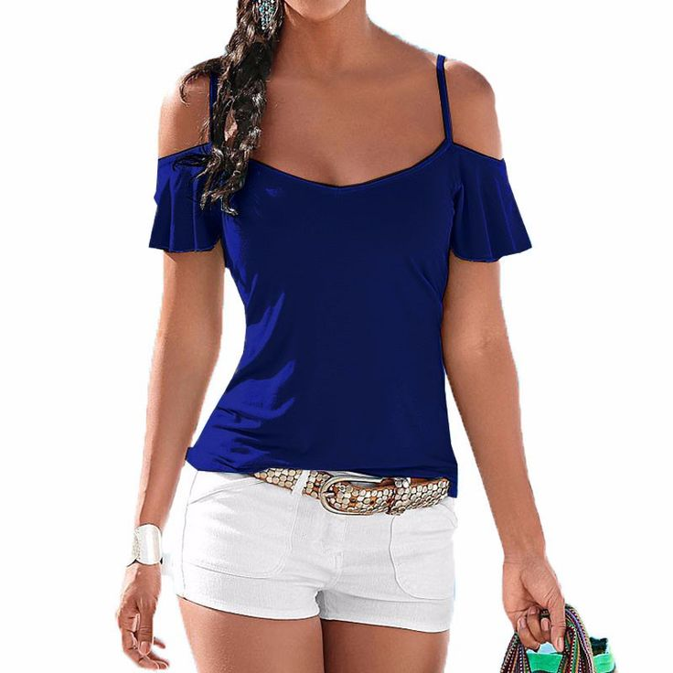Hot new off the shoulder blouse let's your natural style take shape! Material: Cotton+Polyester+Spandex Type: Casual Tops Color: Royal Blue Package include: 1 Tops Viscose. Imported Machine wash cold