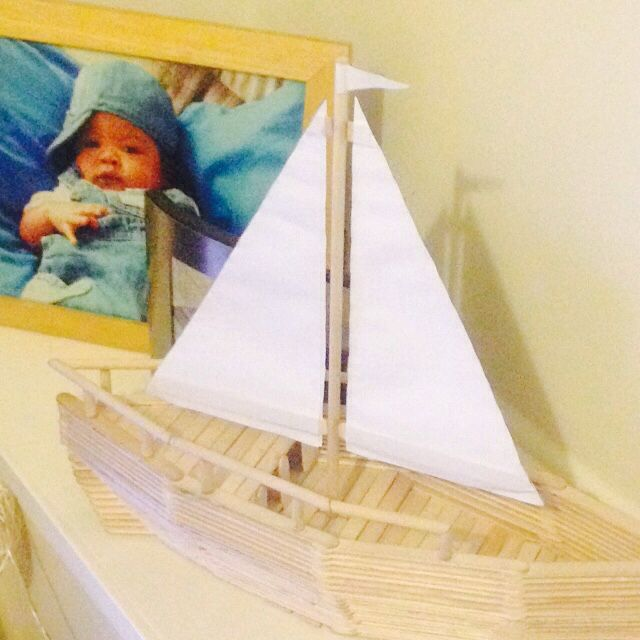 My son's Popsicle boat! Made with help from the best grandad in the world!!