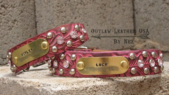 Leather Dog Collar Free Shipping (Pink Dog Collar,Small Dog,Tooled Leather Dog Collar,Western Dog Collar,Bling Dog Collar,Girly Dog Collar)