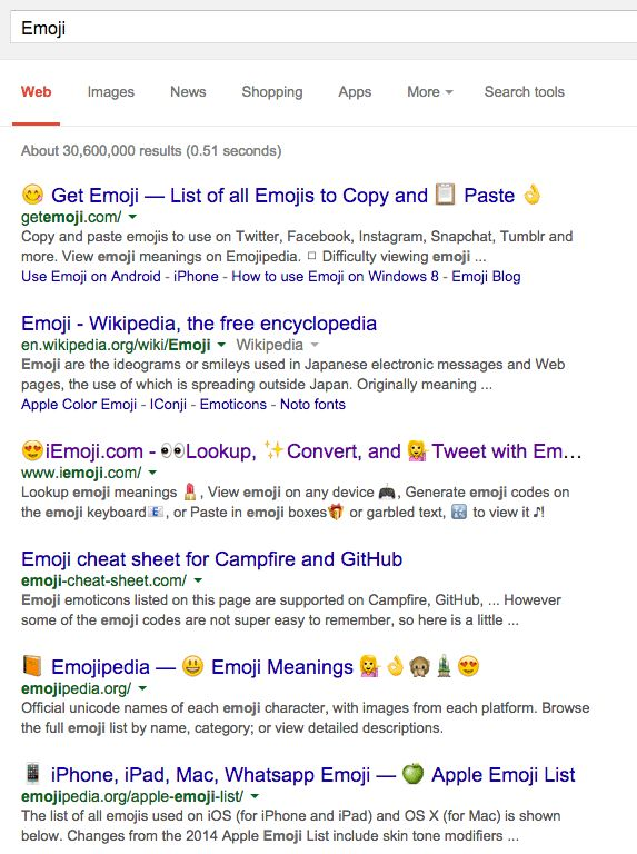 Cheers everyone! Google now is displaying emoji characters in full life in the Google search results...