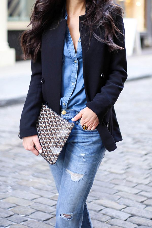 Navy & Denim - Blazer, Chambray Shirt, Boyfriend jeans and Goyard Clutch.