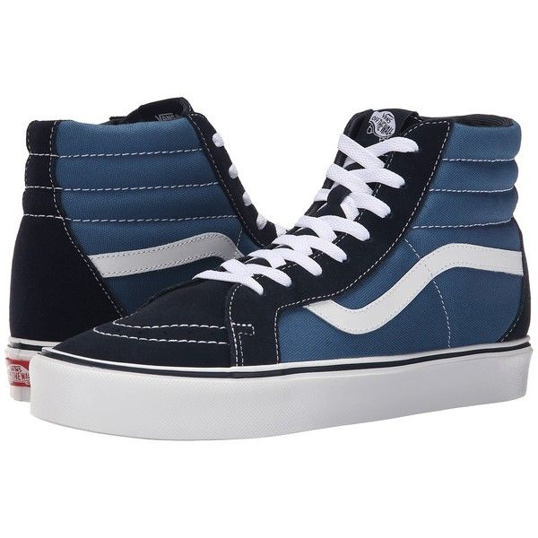 Vans Sk8-Hi Lite + ((Suede/Canvas) Navy/White) Men's Skate Shoes ($70) ❤ liked on Polyvore featuring men's fashion, men's shoes, men's sneakers, mens high tops, mens high top shoes, mens white high top sneakers, mens running sneakers and mens suede sneakers