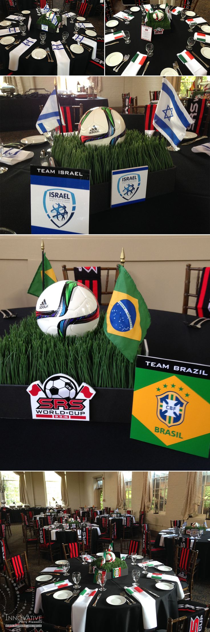 SRS World Cup Soccer Centerpieces included rye grass, soccer balls, country flags, custom table names and all were highlighted with custom Bar Mitzvah party logo. Event design and fabrication by Innovative Party Planners 410-998-9999.