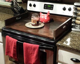 Reclaimed wood Stovetop Cover TC127 by craftsmanscorner on Etsy