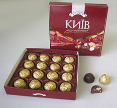 VECHIRNYJ KYIV   A dark chocolate treat with nut and chocolate filling. One of Ukraine's Best!   Roshen   232g