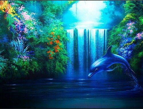 Дельфин Водопад украшения diy подарок Алмазные картины ручной работы Полный Алмазов 5d вышивки крестом вышивка сувенир искусства настенной росписи крытый
