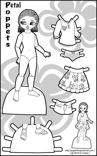 Black and white coloring sheet of a paper doll named Petal, a little black girl with braids and her clothes