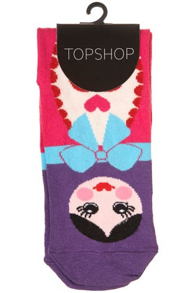 pink Russian doll ankle socks