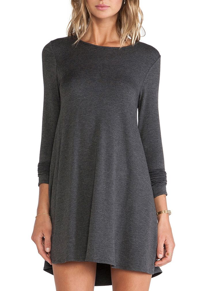 Grey Long Sleeve Casual Dress