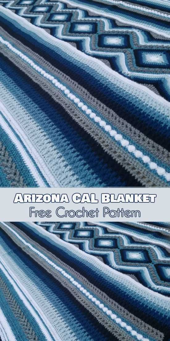 by the gradient colors that blend into one another in a very specific way, and this is further framed by the shadow and contrast colors that help define the pattern. Pattern designed by Pippin Poppycock. See more... #freecrochetpatterns #crochetblanket #arizona #arizonacal #arizonablanket #lovecrochet #arizonacalblanket