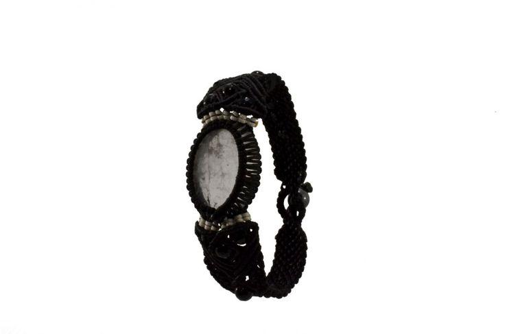 Ανδρικό πλεκτό βραχιόλι με χαλαζία και όνυχα - Macrame bracelet for men with quartz and onyx