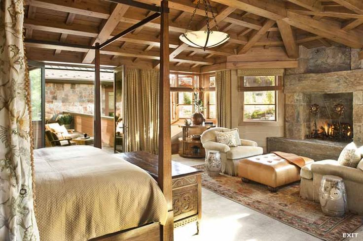 Log Master Bedroom Very Warm And Rustic Love The Area In Front Of The Fireplace Log Home