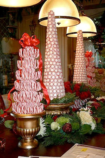Candy topiary Christmas trees - gorgeous centerpiece, for buffet table decor, or on a fireplace mantle!