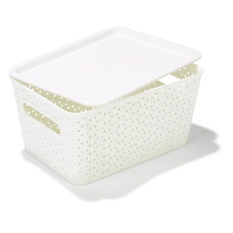 Storage Container with Lid - Small, White