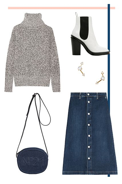 Theory Wyndora Wool-Blend Turtleneck Sweater, $385, available at NET-A-PORTER; Al http://www.refinery29.com/denim-on-denim-outfits-fall#slide-4