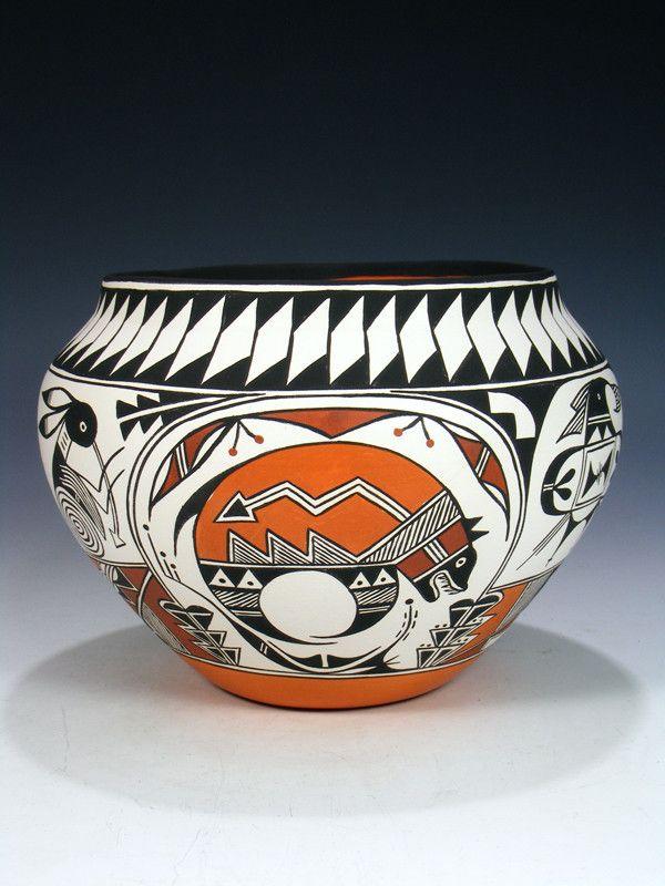 Acoma Pueblo Pot Deer Pottery Bowl