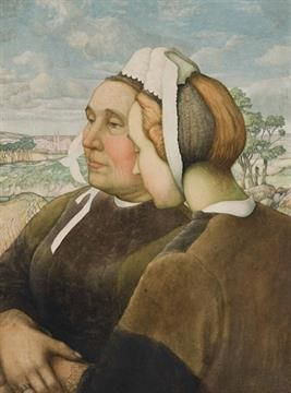 "French school, 19th Century, ""Breton confidents"", oil on panel"