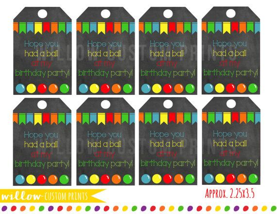 The perfect matching favor tags for a fun BOUNCE HOUSE birthday party!  PRODUCT…