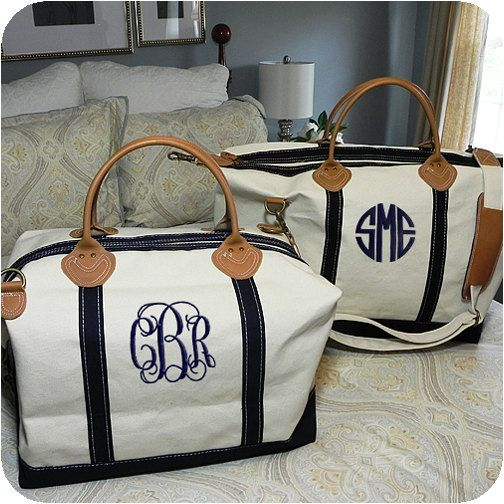 Preppy Monogrammed Weekender Bag by adstorey on Etsy, $75.00