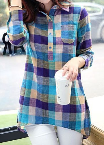 Long Sleeve Plaid Print Asymmetric Hem Blouse