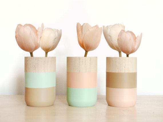 Valentine's Day Sale 30% - Set of 3 Painted Wooden Vases Home Decor aquamarine