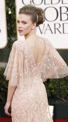 blush pink vintage lace dress with sleeves worn by Scarlett Johansson