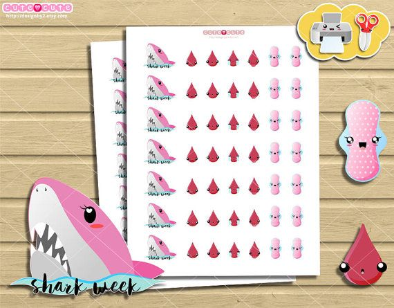 Shark Day period tracker printable planner stickers. Erin condren, happy planner printables, filofax, kikkik