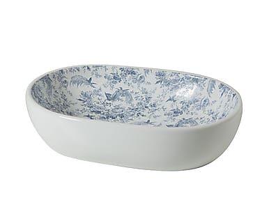 Vasca lavello in porcellana bianco e blu Soissons, 59x14x41 cm
