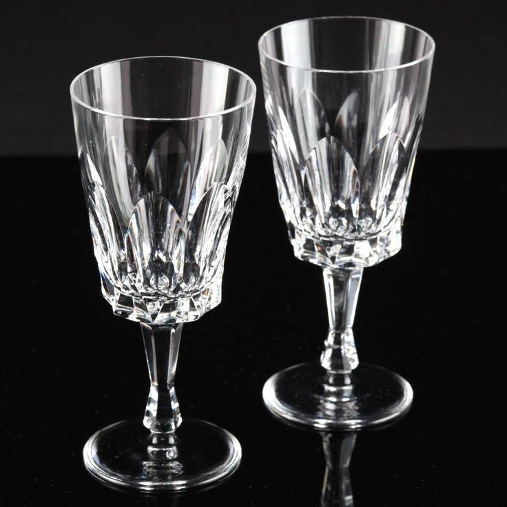 2 Vintage Kristall Weingläser Weißweingläser Bleikristall Glas Keil Schliff H1D