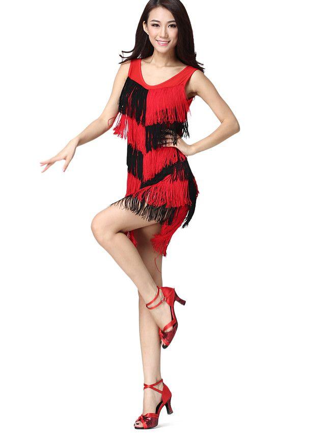 Prestatie Danskleding Spandex en Chinlon met kwastjes Latin Dance Dress For Ladies meer kleuren - EUR €21.84