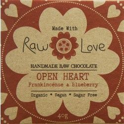 Raw Love Chocolate - Organic Cold Processed Raw Cacao Powder & Butter, Organic Erythritol, Organic Dehydrated Blueberries, Organic Coconut Oil, Organic Luo Han Guo Extract, Organic Frankincense Essential Oil & Sea Salt