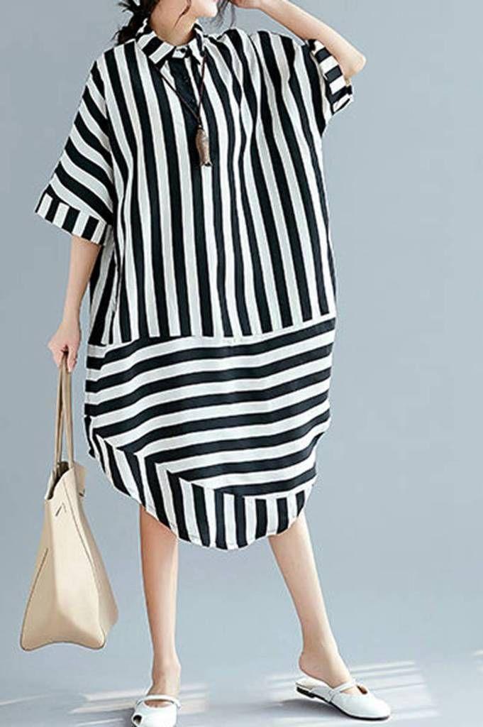 146c77ed6289 Black White Striped Women Summer Long Dresses Loose Women Dress Q2046