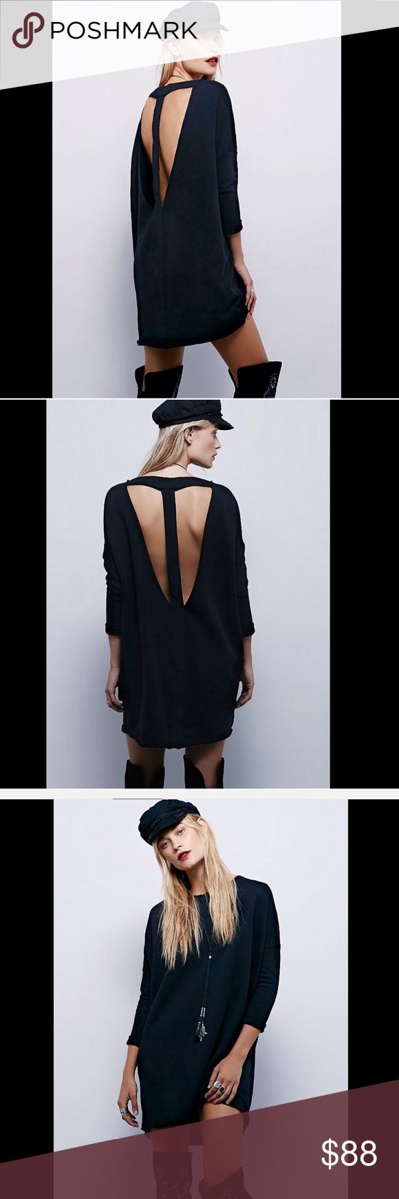 Selling this Free People  black Open Back Sweatshirt  Dress L on Poshmark! My username is: richbororiches. #shopmycloset #poshmark #fashion #shopping #style #forsale #Free People #Dresses & Skirts