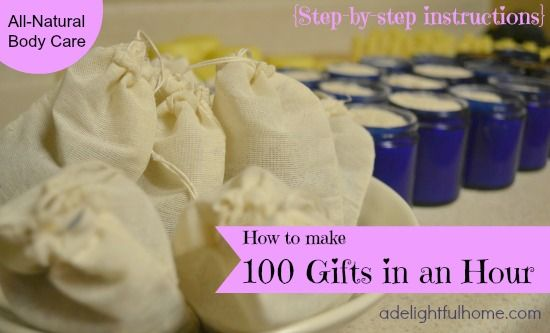 Make 100 all natural body care products in one hour!!! Amazing post with step-by-step instructions. You could knock out all those little holiday gifts in one afternoon!