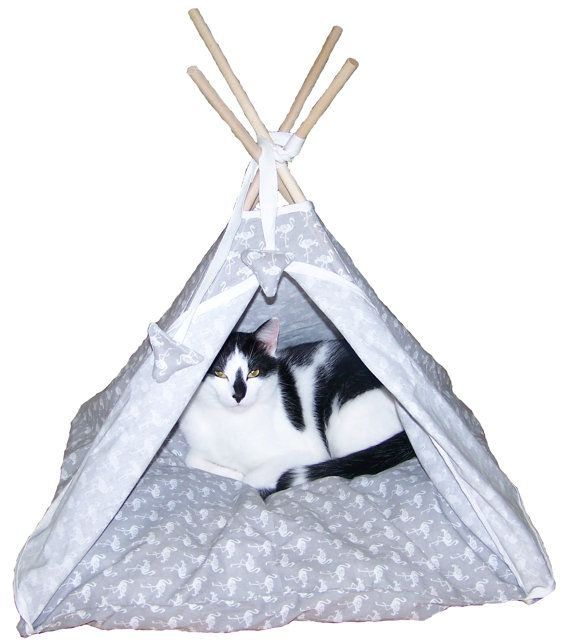 Cat/dog TEEPEE tent grey with white falmingos by KOKOTbyAnnHell