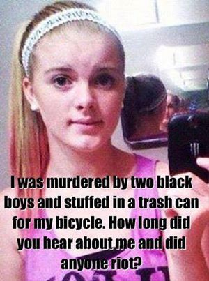 In October 2012 Autumn Pasquale, 12, was murdered by black brothers Justin and Dante Robinson, then aged 15 and 17. The brothers lured her to their home in Clayton, New Jersey, under the pretence of exchanging BMX bike parts, then beat and strangled her to death. The boys have been charged with murder, conspiracy to commit murder, disposing of a body, tampering with evidence and theft. Justin was also charged with luring. Surprise, surprise... once again... no HATE CRIME CHARGES.