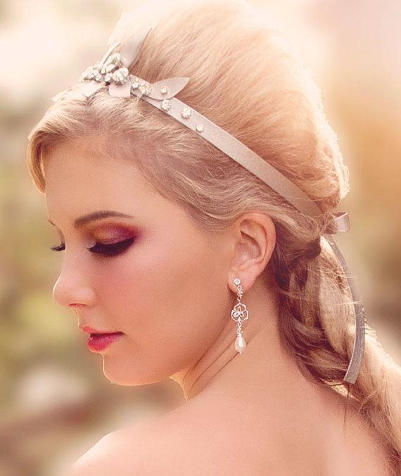 Amelia bridal flower earrings with Swarovski crystal & by Cynthier
