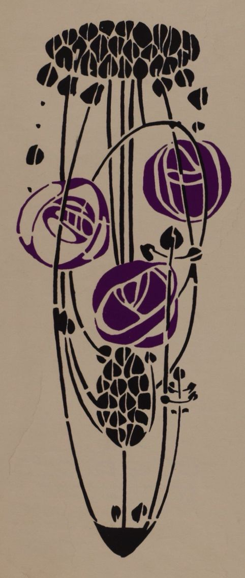 Rose motif in black and purple, a stencil test, or trial,  by Charles Rennie Mackintosh for the back of his high-backed chair. Shown in the Mackintosh exhibition room, 'A Rose Boudoir' at the International Exhibition of Modern Decorative Art at Turin, 1902. Pencil and pigment on paper, 66.1 x 29.1