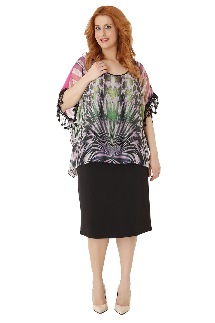 Midi jersey pencil dress with printed chiffon tunic. The sleeves are decorated with embroidery and tassels. A cocktail dress, ideal for special occasions!