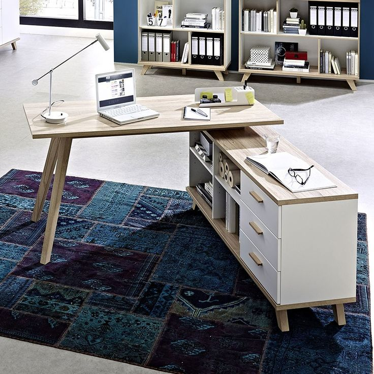 bureau d 39 angle blanc et couleur ch ne clair contemporain malmo biblioth que pinterest. Black Bedroom Furniture Sets. Home Design Ideas