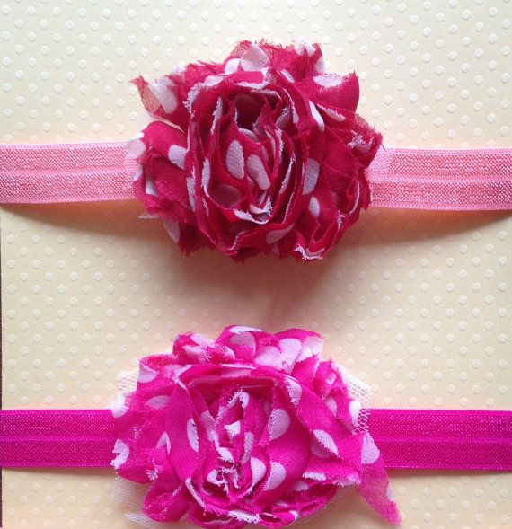 0-6 months Little Miss Pink Dot Headband Set by BooLouBaby on Etsy